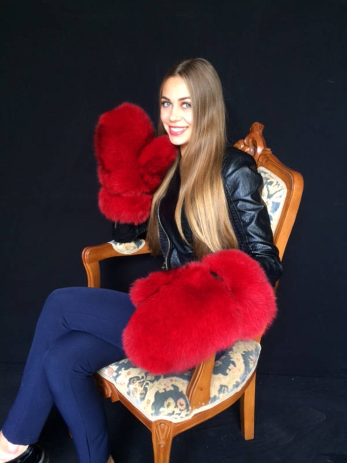 giant fur mittens red