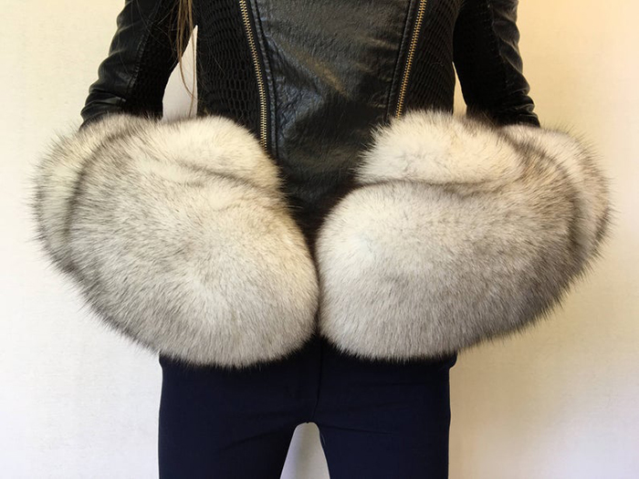 giant fur mittens white with black tips