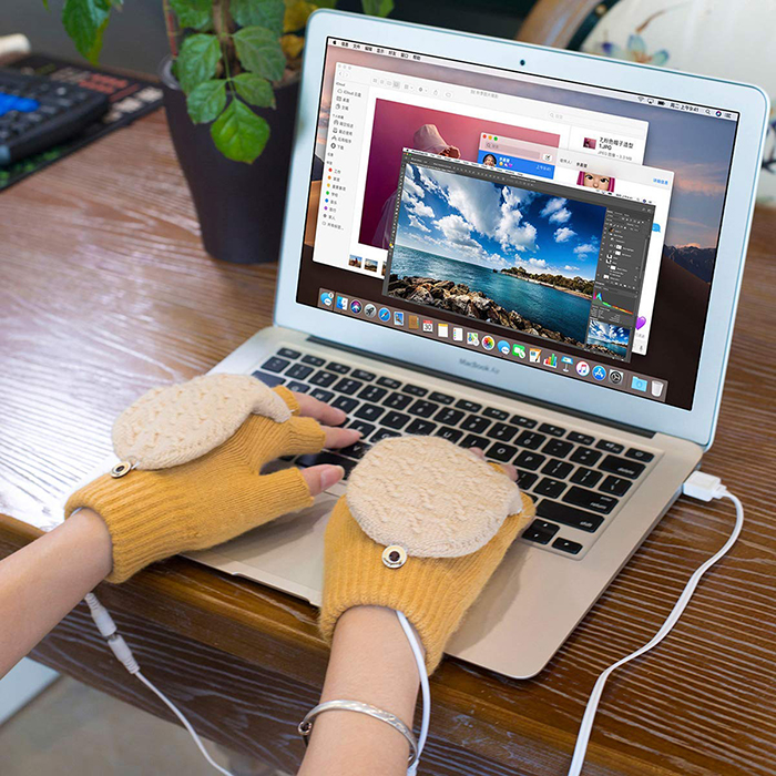 usb powered gloves yellow