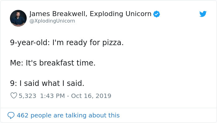 hilarious parent tweets pizza for breakfast