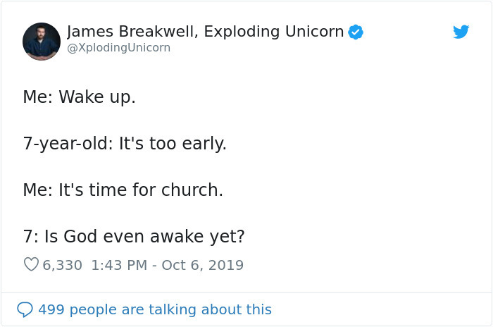 hilarious parent tweets too early for church
