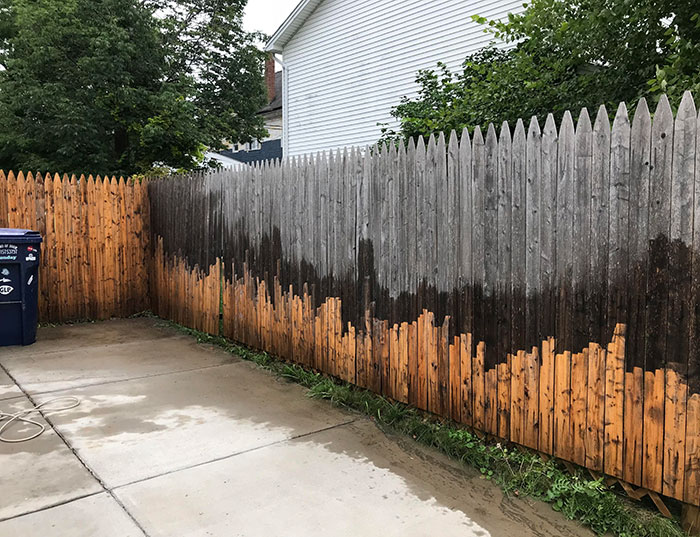 hydro-jet cleaner wooden fence