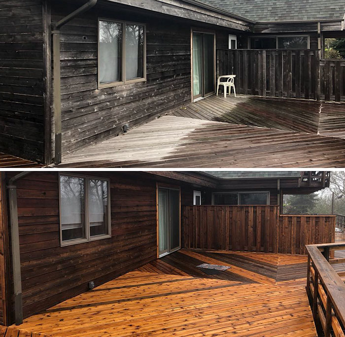 hydro-jet cleaner wooden porch