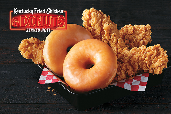 kfc fried chicken and donuts with banner