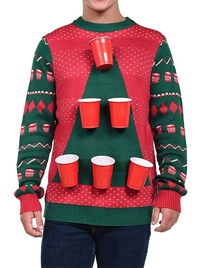 men beer pong sweater detachable cups