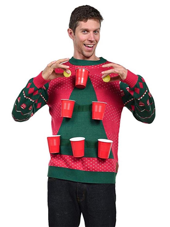 men beer pong sweater