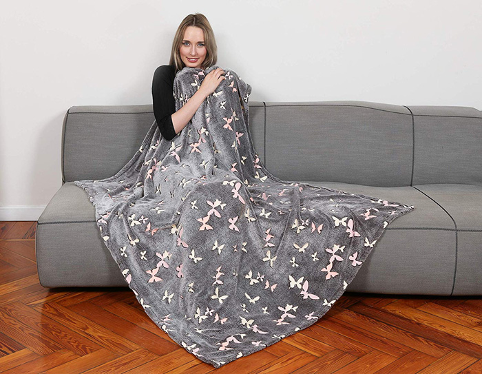 polyester fleece bed throw butterflies