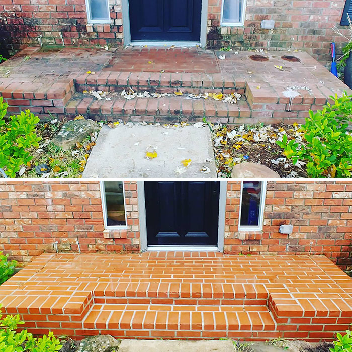 power washing transformations brick entryway