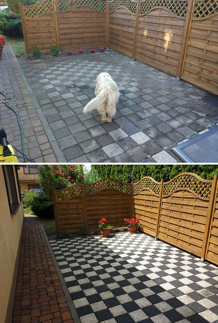 power washing transformations checkered tiles