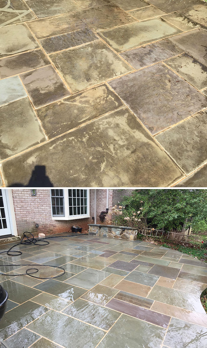power washing transformations patio tiles