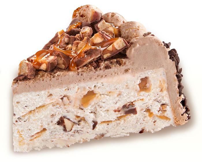 slice of the snickers ice cream cake