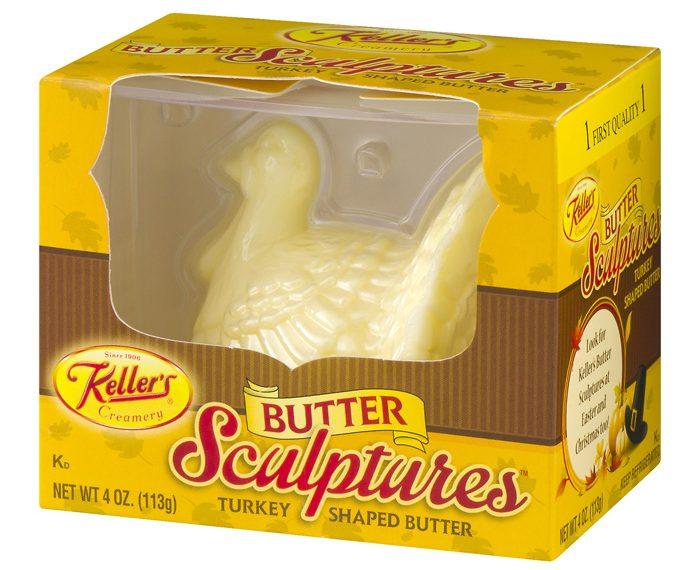 thanksgiving turkey-shaped butter sculpture