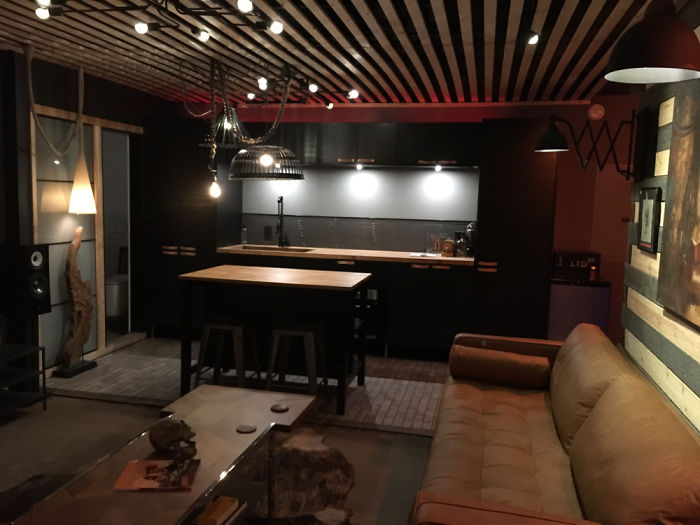 will breaux shipping container home interior kitchen