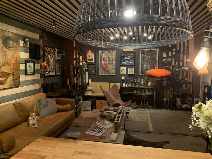 will breaux shipping container home living room