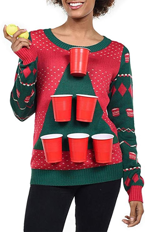 women beer pong sweater