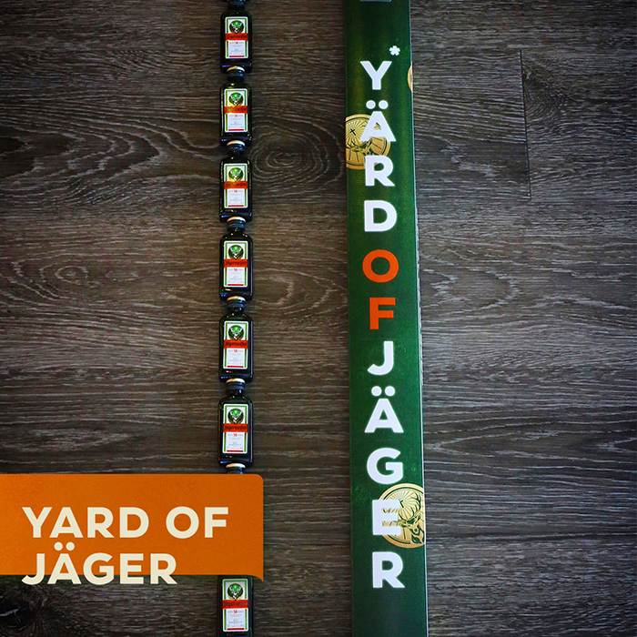 yard of jagermeister contains 10 mini bottles