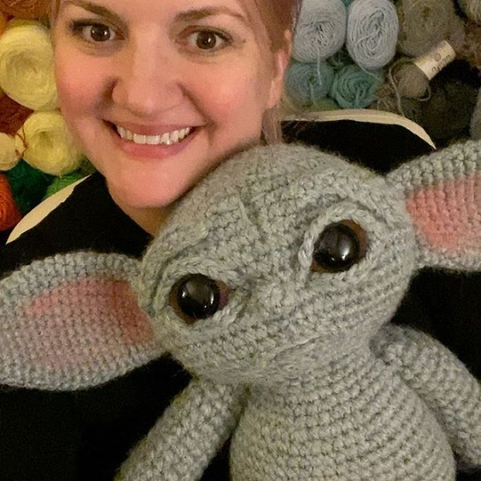 Allison Hoffman with Crocheted Baby Yoda