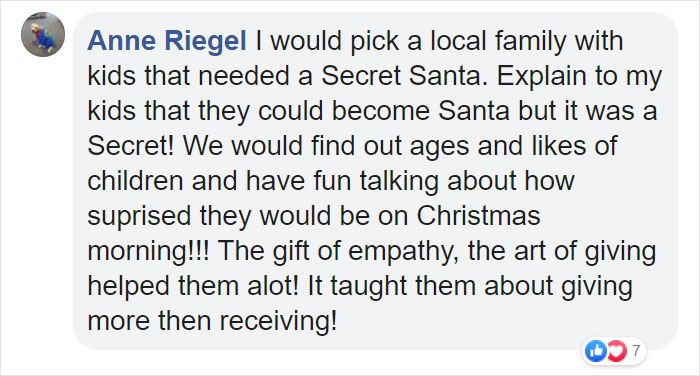 Anne Riegel Facebook Comment on Kristina Watts Christmas Mom Hack
