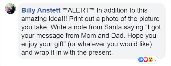 Billy Anstett Facebook Comment on Kristina Watts Christmas Mom Hack
