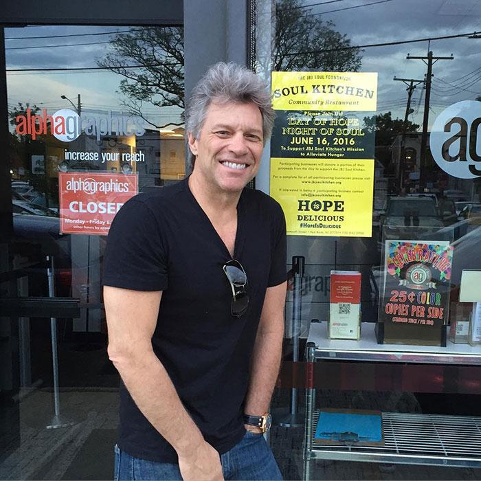 Bon Jovi with Soul Kitchen Promotional Poster at Back