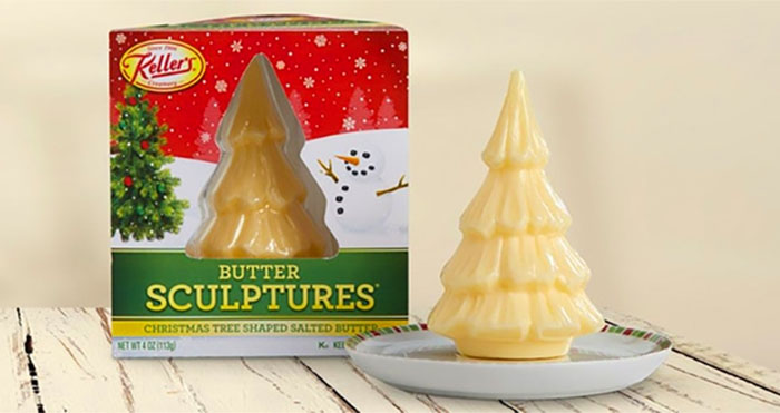 Christmas tree butter sculpture