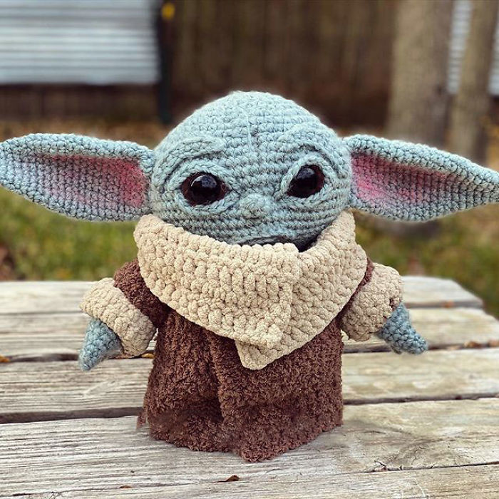 Crocheted Baby Yoda with Clothes