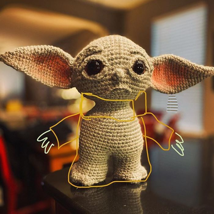 Crocheted Baby Yoda without Clothes