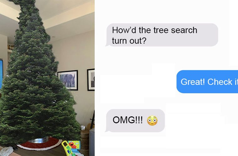 Dad trolling christmas tree