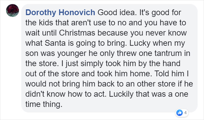 Dorothy Honovich Facebook Comment on Kristina Watts Christmas Mom Hack