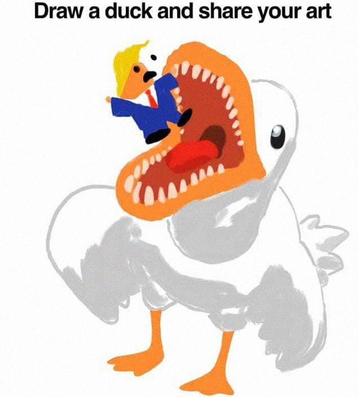 Duck Eating Donald Trump Drawing Based on Draw a Duck Template
