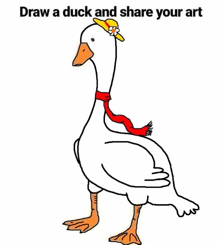 Duck with Hat and Scarf Drawing