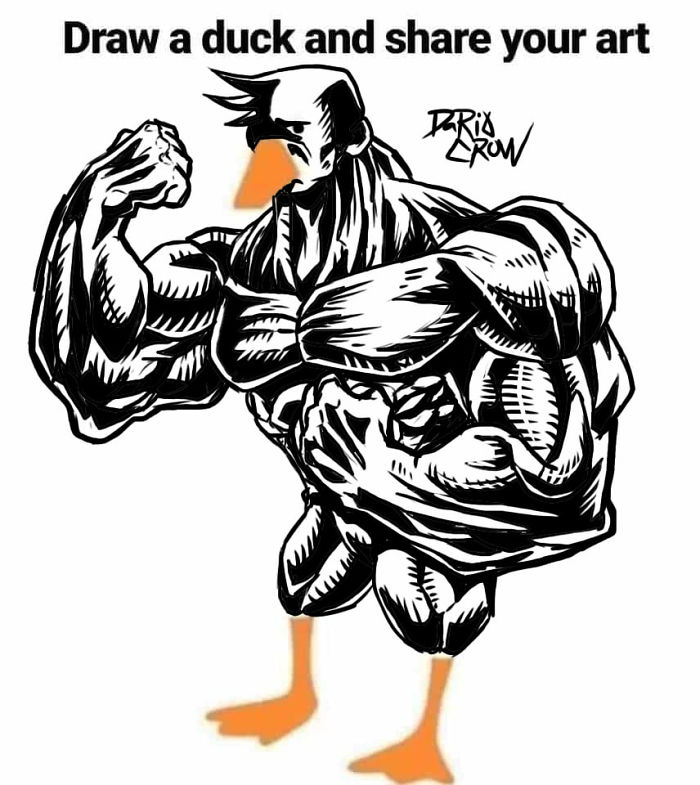 Duck with Muscles Drawing 2