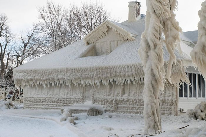 Fascinating Things House Encased in Ice After Blizzard