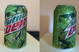 Glass Rhinestone Mountain Dew Can