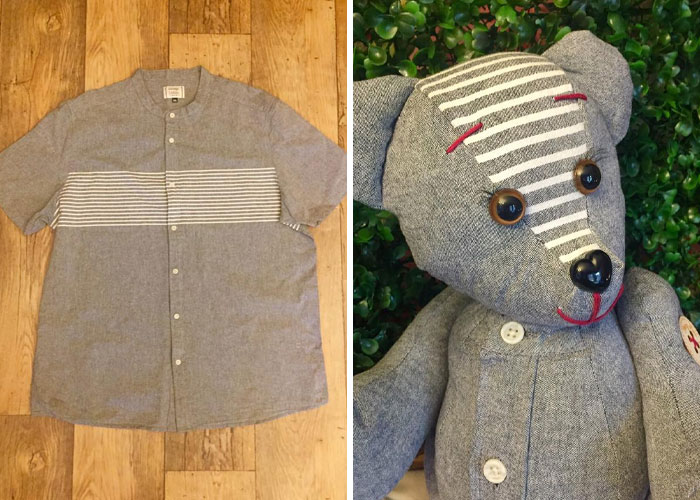 Gray Short-sleeve Shirt with Buttons Turned into a Stuffed Teddy
