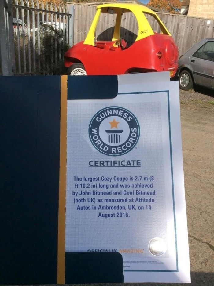 Guinness World Records Certificate for John Bitmead and Geof Bitmead of Attitude Autos