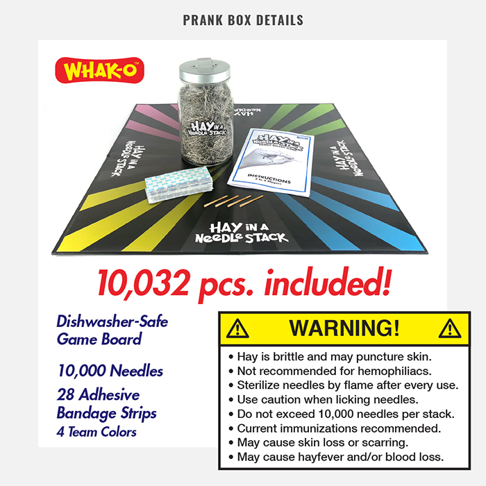 Hay In A Needle Stack Board Game Prank Gift Box Details Inclusions