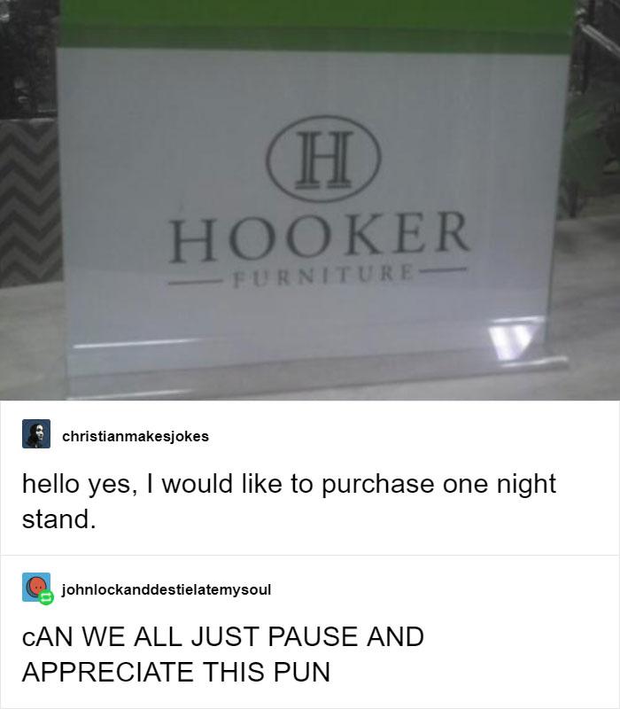 Hilarious Puns Hooker Furniture