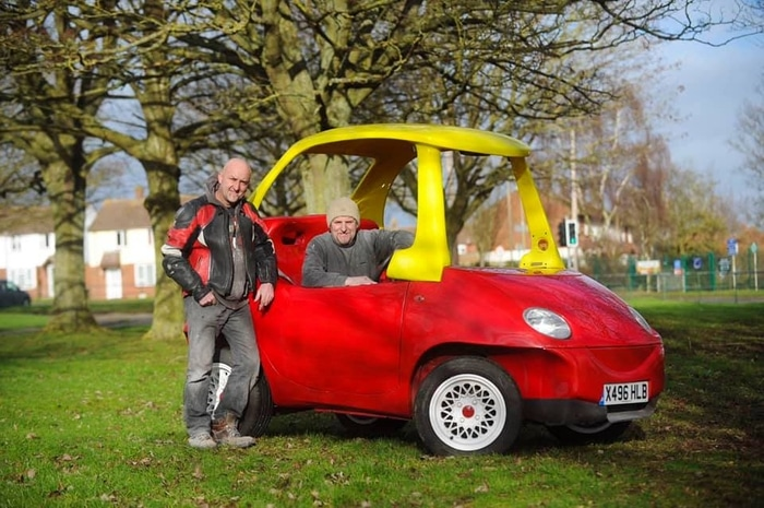 John and Geof Bitmead with Little Tikes Car Adult Version