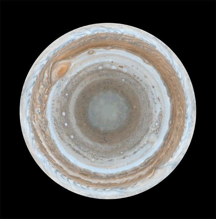 Jupiter Viewed from Its South Pole