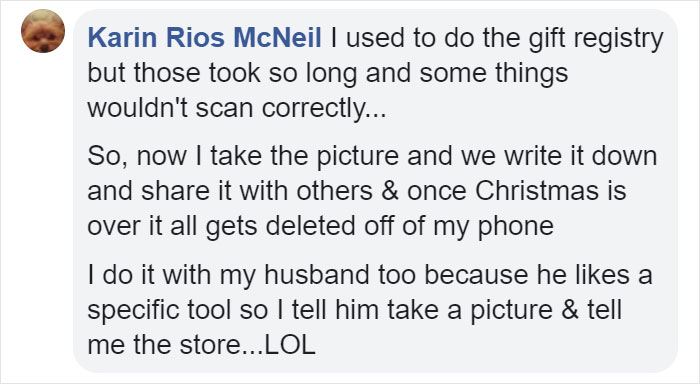 Karin Rios McNeil Facebook Comment on Kristina Watts Christmas Mom Hack