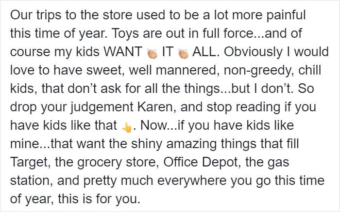 Kristina Watts Christmas Mom Hack Facebook Post 2