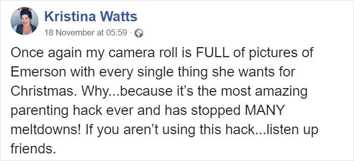 Kristina Watts Christmas Mom Hack Facebook Post