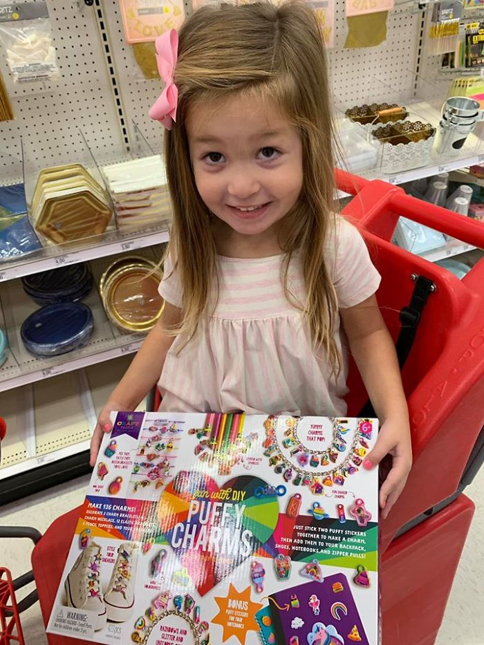 Kristina Watts Daughter Emmie with DIY Puffy Charms