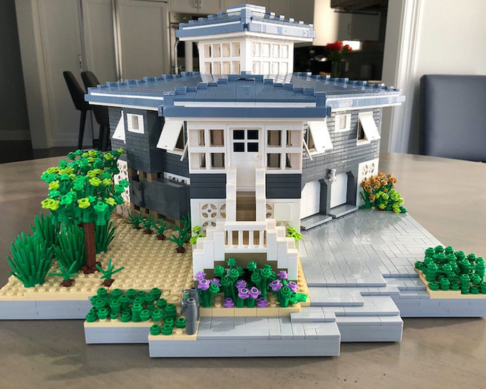 LEGO House Replica Blue and White Front