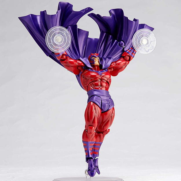Magneto raises his arms while having the magentic discs on