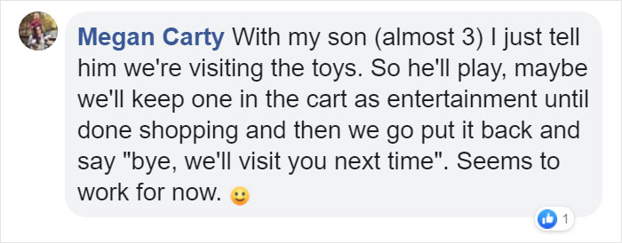 Megan Carty Facebook Comment on Kristina Watts Christmas Mom Hack