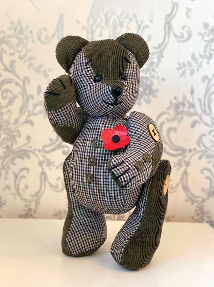 Memory Bear Made of Plaid and Corduroy Clothing