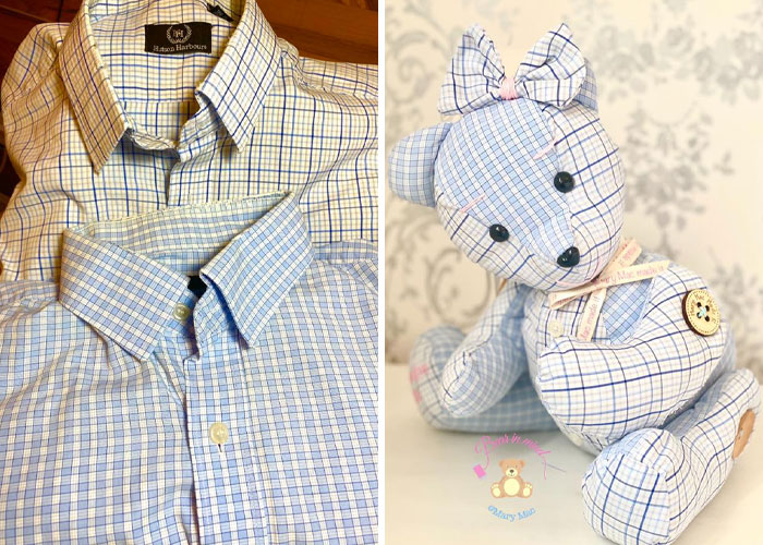 Memory Bear Made of Two Checkered Button-down Shirts