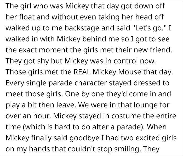 Mikey Jacobs Reddit Post Walt Disney World Magical Experience 9